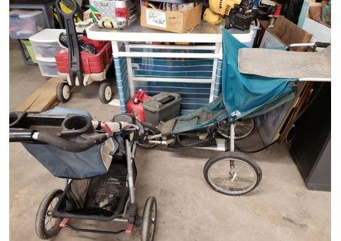 2 jogging strollers