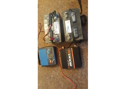 Charger,  2 marine/rv batteries and, and a 2000w power converter