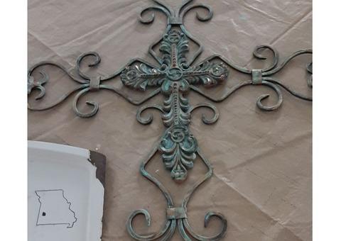 "Hand-painted ""Rusty"" Iron Cross"