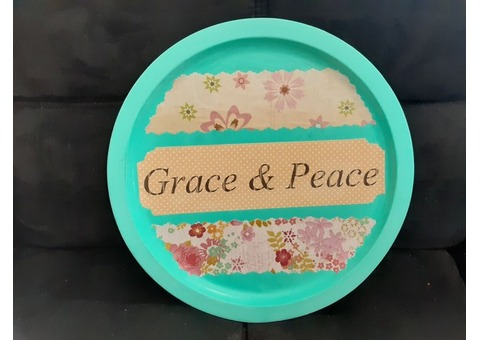 Grace and Peace Floral Sign with Hanger