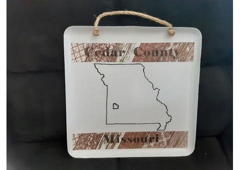Cedar County Missouri Sign or Tray